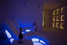 Blu ligheted spa area with FLAG by ISO Benessere