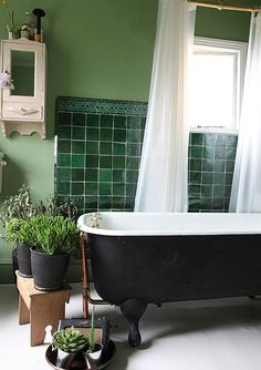 Brilliant  Bathroom With Bright Light White Tub Wall Decoer And Green Wall Tiles