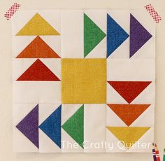 Rainbow Geese Rotation Block tutorial by Julie Cefalu for the Burlap Brights Block Hop at Sew in love {with fabric}