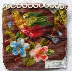 lovely old vtg needlepoint tapestry, which i have turned into a needlecase Cross Stitch Bird, Cross Stitching, Cross Stitch Embroidery, Hand Embroidery, Tapestry Fabric, Tapestry Crochet, Needlepoint Designs, Couture, Pin Cushions