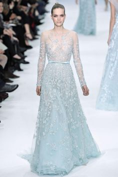 Baby Blue Wedding Dress - Elie Saab 2012-2013 (If I ever got married I would wear a dress like this. No white for me. So in love. Except something would have to be built to cover up top so the girls are covered). ;)