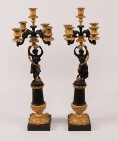 """PAIR OF 19TH C. FRENCH LOUIS PHILIPPE DORE BRONZE 5 LIGHT CANDELABRA WITH CLASSICAL FIGURES ON A FLUTED AND GOLD GILT FLORAL RELIEF BASE; 25.5""""H"""