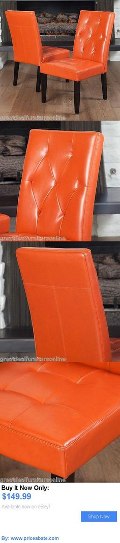 furniture: Set Of 2 Contemporary Orange Leather Dining Chair W/ Tufted Accent BUY IT NOW ONLY: $149.99 #priceabatefurniture OR #priceabate