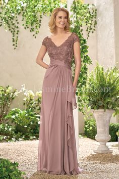 Jade Collection J195008 - Jade Tiffany Chiffon/Lace with Stretch lining mother of the bride dress with a lovely lace bodice. Gathering along the front and back of skirt along with a sash that hangs from the side of the waist.