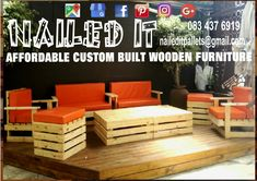8 seater Patio set with cushions. All ready to go to PE. This set consists of 2 x double seaters, 2 x single seaters, 2 x ottomans and 2 coffeetables. Petfect for any outdoor area. If it's made from wood, we'll build it. To place your order, or for more info, contact us on 0834376919 (whatsapp) or naileditpallets@gmail.com. #patiofurniture #patioideas #patiodesign #outdoorfurniture #outdoorpatio #outdoorpatiofurniture #custompalletwoodfurnituredurban #palletfurniture #palletfurnituredurban…