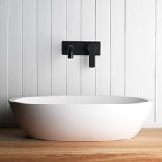 Pictured here is our Zeos Back Plate Basin Mixer in Switzrok Matte Black- a great contrast to the whitewashed panelling and our Silkstone Calais Basin. Bathroom Tapware, Bathroom Basin, Bathroom Toilets, White Bathroom, Bathroom Wall, Modern Bathroom, Bathrooms, Bathroom Photos, Bathroom Inspo