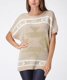 Look at this Khaki & White Tribal Dolman Sweater on #zulily today!
