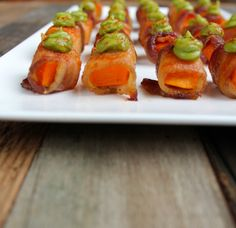 paleo bacon wrapped sweet potato bites with avocado mousse Check out the website to see Sweet Potatoe Bites, Potato Bites, Pork Bacon, Paleo Bacon, Paleo Appetizers, Appetizer Recipes, Paleo Recipes, Whole Food Recipes, Free Recipes
