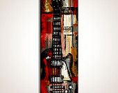 Guitar painting, Les Paul Guitar, Red and grey, Music Art, Original Guitar Art, painting on 36'' x 12'' canvas- $ 195