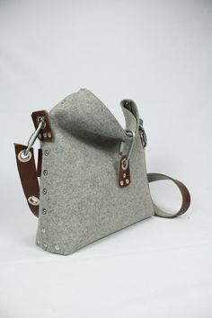 Felt Handbag with fold over top Cross Body Bag Womans by Rambag