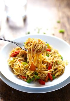 Stir Fried Singapore Noodles with Garlic Ginger Sauce - use veggie broth to make if vegan