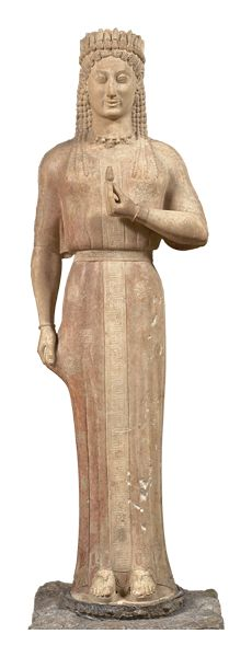 Marble statue of a kore (standing maiden), fully draped and coifed found at Merenda, Attica  550-540 BC.