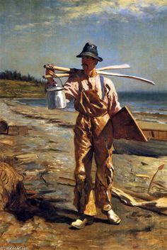 Grand Manan Fisherman Bringing Home Ses Avirons, huile sur toile de John George Brown (1831-1913, United Kingdom)