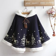 Harajuku Christmas elk printed hoodie cloak SE10860      Use coupon code #cutekawaii for 10% off @ #sanrense