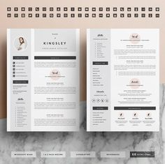business infographic professional resume template for word 1 2 page cv template icon set cover letter - Professional Resume Format