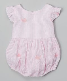 Loving this Pink Stripe Whale Ruffle Bubble Bodysuit - Infant on #zulily! #zulilyfinds by Lil Cactus