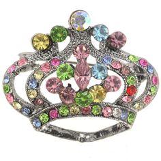 Multicolor Crystal Crown Pin Brooch - Fantasyard Costume Jewelry & Accessories