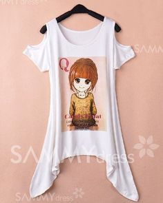 $6.05 Irregular Hem Off-The-Shoulder Scoop Neck Cartoon Girl And Letter Print Slimming T-Shirt For Women