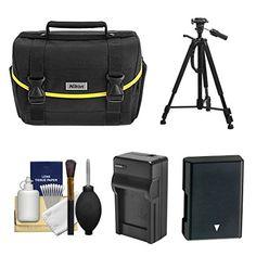 Nikon Starter Digital SLR Camera Case  Gadget Bag with ENEL14 Battery  Charger  Tripod  Kit for for D3100 D3200 D3300 D5200 D5300 D5500 *** Click image to review more details.