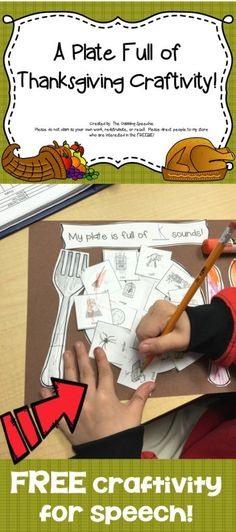 thanksgiving speech therapy craft for articulation! FREE printable - pinned by ? Please Visit? all our pediatric therapy pins Preschool Speech Therapy, Speech Therapy Games, Speech Language Therapy, Speech And Language, Articulation Activities, Speech Activities, Language Activities, Articulation Therapy, Halloween Speech Therapy Activities