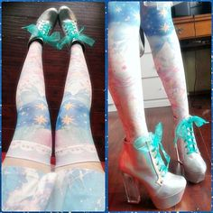 Shoes from dollskill holographic silver rainbow fashion space cyber space alien cute kawaii uchuu kei