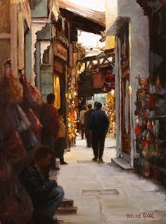 Down the Lane in Cairo, Oil on linen, by Pauline Roche
