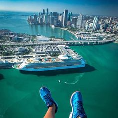 Great weather to take in Miamis spectacular skyline by boat @paulo.travels @southbeachhelicopters Happy Boat show weekend! #miamiboatshow #miami