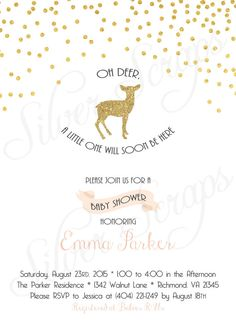Gold Glitter Confetti and Deer Custom Baby Shower Invitation - Fawn Bambi Sprinkles Dots Blush Pink White Modern Girl Sparkle Digital DIY metallic matching back side polka dots silhouette chic soft blush light pink white