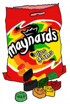 "https://flic.kr/p/5qWrUe | Maynards Winegums | Wine gums contain no wine. The name comes from the lingering, subtle fruit flavours that make it ""similar to the experience of savouring a fine wine"". In reference to this, the sweets have the names of alcoholic drinks on them, for example port, sherry, champagne, claret and Burgundy. Also appearing on Maynards' gums are ""M"" and Maynards."