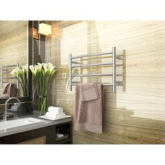 Anzzi Glow 4-Bar Wall Mounted Electric Towel Warmer Rack In Polished Chrome - Indulge in a little luxury every day with the ANZZI Glow 4-Bar Wall Mounted Electric Towel Warmer Rack. Heats your towel so when step out of your shower you will be greeted with lavish warmth. 4 bars offer room for everyone's towel. Towel Warmer Rack, Towel Racks, Minimalist Design, Modern Design, Free Standing Wall, Wall Bar, Steel Wall, Polished Chrome, 1 Piece