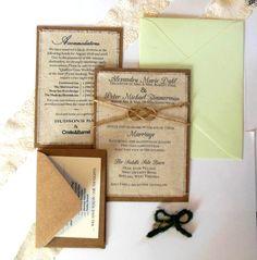 Mint Green Wedding Invitations - DIY Rustic Burlap Fabric Wedding Invitation Kit - Rustic Wedding