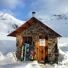 This is the Alpine Club of Canada's Great Cairn Hut at the base of Mount Sir Sanford deep in the Selkirk Mountain Range of British Columbia.  With the spring season ramping up, Arc'teryx athletes Forrest Coots, Christina Lusti, Eric Hjorleifson along with Arc'teryx photographer Angela Percival headed out to find some of winter's bounty left behind. They succeeded and this was there home for a week.  Photo credit Forrest Coots.