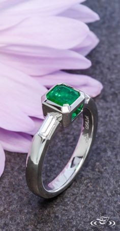 Modern Emerald Engagement Ring. Green Lake Jewelry