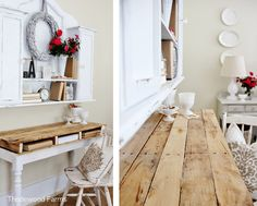 Yes!  Pallet wood table top desk, by Thistlewood Farms at I Love That Junk