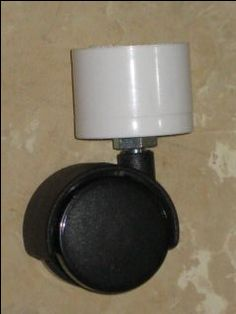 Caster Attachment:  Caster with threaded stem PVC Cap of whatever size needed Nuts and Lock Washers (or Lock Nuts)
