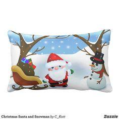 Christmas Santa and Snowman Lumbar Pillow #chibi #santa #snowman #christmas #pillows #homedecor #zazzle