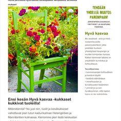 #Repost @hyvakasvaajarvenpaassa  Kukkatuolit tulee! Mitä muuta meillä tapahtuu? Seuraa http://ift.tt/23pH0KY tai tilaa uutiskirjeemme nettisivuiltamme: hyvakasvaajarvenpaassa.fi. Sunnuntaina Puuhaamo ja musailta Seppälän talossa. Check in! #hyväjäke #järvenpää #järvenpäänkukkatalo #flowers #chairs #green #vapaaehtoistyö #asukaslähettiläs