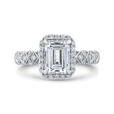 18K White Gold 1/2 Ct Diamond Carizza Semi Mount Engagement Ring to fit Emerald Center - Shah Luxury