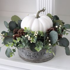 Beautiful white pumpkin centerpiece in a Magnolia Farms galvanized container. White Pumpkins Wedding, Fall Pumpkin Wedding, White Pumpkin Centerpieces, White Pumpkin Decor, Fall Table Centerpieces, Rustic Wedding Centerpieces, Autumn Wedding, Home Flower Arrangements, Fall Arrangements