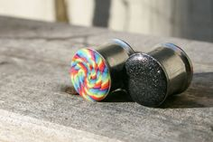 Rainbow plugs reversible black glitter gauges for by PluggingAlong, $32.00
