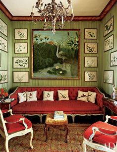 A television room at Villar Perosa, the 18th-century Northern Italian estate that has been style leader Marella Agnelli's country home since 1953