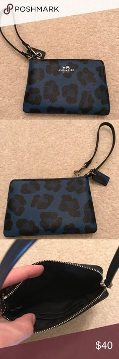 Coach leopard wristlet Great blue leopard Coach wristlet in perfect condition! Only used a very few times! Coach Bags Clutches & Wristlets