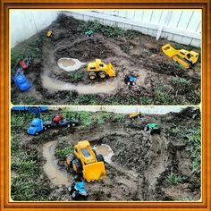 DIY off-road mud pit for kids...just hose some dirt, dig, and use your hands to shape, mold and smooth over some roads...plastic shovels and toy gardening tools are always a fun addition...dirt cheap fun!!