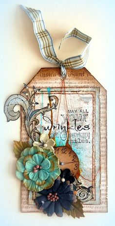 Scrapperlicious: May All Your Wrinkles Tag by Irene Tan using Petaloo gorgeous flowers