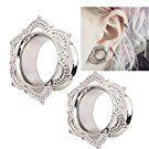 Hunputa 1 Pair Ultra Thin Copper Ear Tunnels Stretcher Plugs Expander Earskin Ear Gauges Piercing Jewelry (12mm)