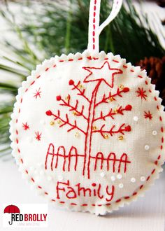 """Hand embroidered Christmas Ornaments- """"Family"""" A free cute design from Red Brolly Embroidered Christmas Ornaments, Christmas Embroidery Patterns, Hand Embroidery Designs, Felt Ornaments, Cactus Embroidery, Embroidery Stitches, Christmas Sewing, Christmas Cross, Felt Christmas"""