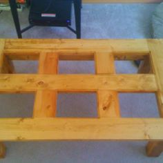 Knotty pine coffee table. Retail $225.