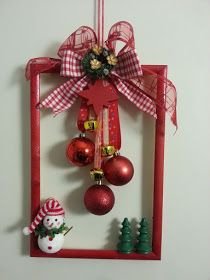 Last Minute DIY Christmas Decorations on a Budget - Picture Frame Wreaths - Chr . - Last minute DIY Christmas decorations on a budget – picture frame wreaths – Christmas Holidays - Picture Frame Wreath, Christmas Picture Frames, Picture Frame Crafts, Christmas Door, Christmas Pictures, Simple Christmas, Christmas Holidays, Beautiful Christmas, Picture Frame Ornaments