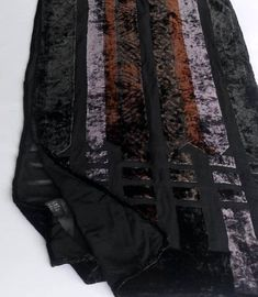 Black Silk velvet vintage scarf multicolor strips design