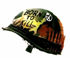 """Framed Print - Full Metal Jacket """"Born to Kill"""" Helmet (Picture Poster Film Art) Great Films, Good Movies, Soldier Helmet, Drill Instructor, Tactical Helmet, Full Metal Jacket, Full Face Helmets, Street Fights, Canal No Youtube"""
